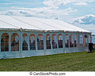 Colorful events party tent by the sea - Seaside party events...