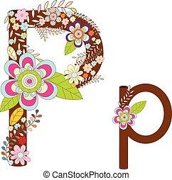 P Alphabet Flower Font Vector
