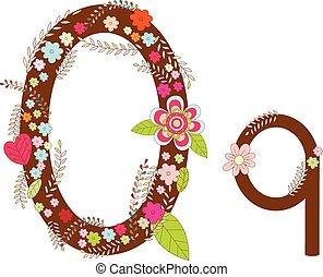 Q Alphabet Flower Font Vector