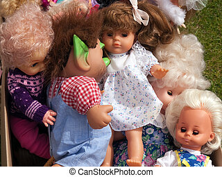 Selection of dolls in a flea market - Selection of handmade...
