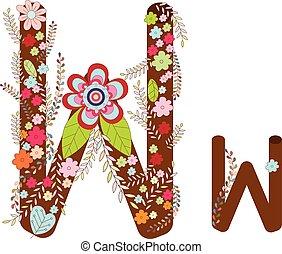W Alphabet Flower Font Vector