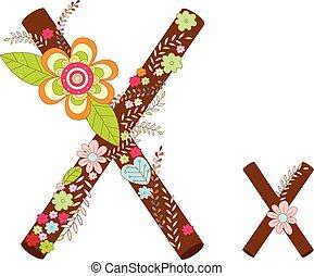 X Alphabet Flower Font Vector