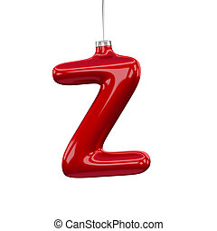 Christmas Tree Font: Z letter isolated on white
