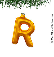 Christmas Tree Font: R letter isolated on white