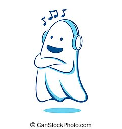 Ghost listening to music