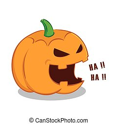 Laughing Halloween Pumpkin - vector illustration of a...
