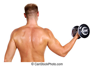 bodybuilder holding dumbbell