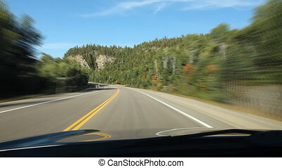 Lake Superior highway. Time lapse. - Driving on the trans...