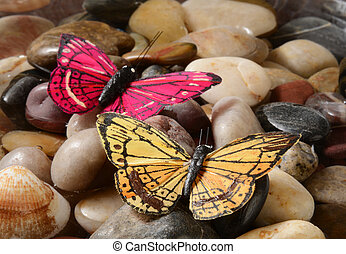 Butterflies - A red and a yellow butterfly on pebbles in...