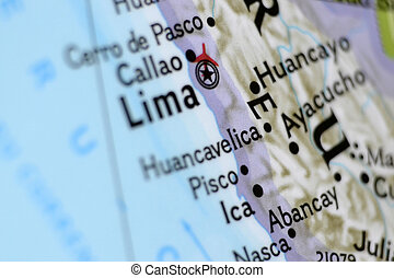 Lima, Peru, on a Map - Macro photo of Lima, Peru, on a...