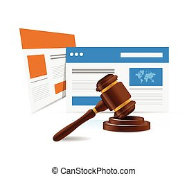 online legal law web concept. illustration design over a...