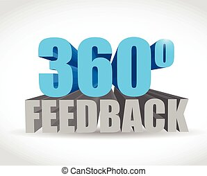 360 feedback sign illustration design over a white...