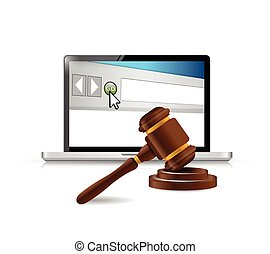computer browser and law hammer illustration design over a...