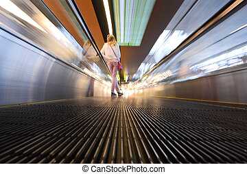 Moving Airport Escalator - Wide angle unique perspective...