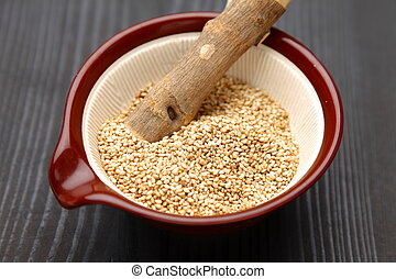 white sesame seed with Japanese mortar