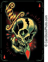 Skull and Dagger in Tattoo flash design style Vector for use...