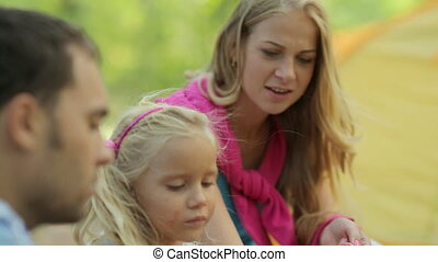 Wonderful family blowing soap bubbles while relaxing on...