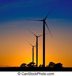 viento, turbinas, Siluetas