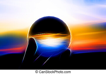 A glass sphere in neon style - A glass ball in the sunset...