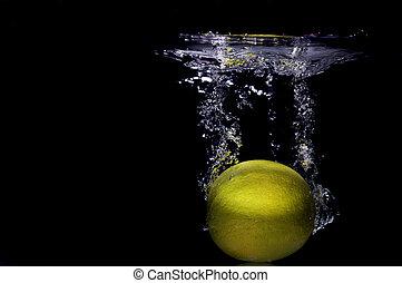 水, 落ちる, レモン