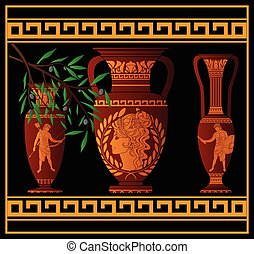 ancient amphora and jugs. vector illustration