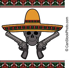 skull with sombrero and pistols. vector illustration