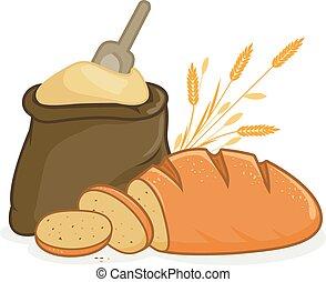 Flour sack and bread - Illustration of a sack of flour, a...