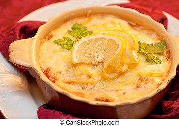 fish stew - Delicious fish stew dish closeup At russian...