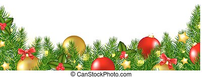 Christmas Border With Holly Berry With Gradient Mesh, Vector...