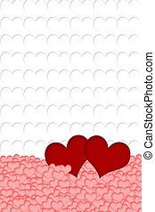 Red, pink and white hearts background - Two red hearts are...