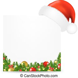 Xmas Card With Santa Hat And Text With Gradient Mesh, Vector...