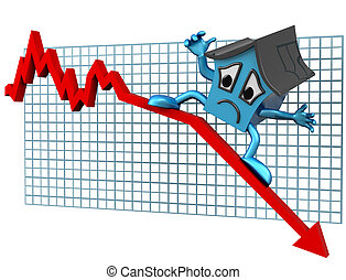 House prices down - Isolated illustration of a house surfing...