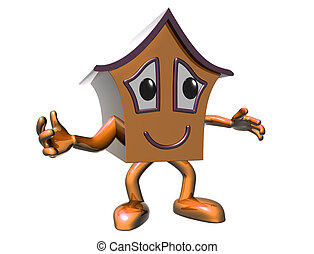 Happy house - Isolated illustration of a very happy cartoon...