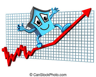 House prices up - Isolated illustration of a house surfing...