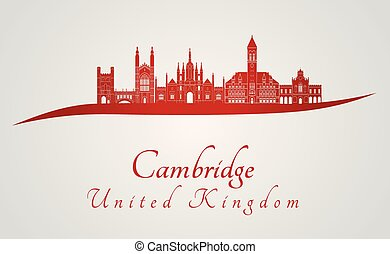 Cambridge skyline in red and gray background in editable...