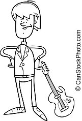 rock man with guitar coloring page - Black and White Cartoon...