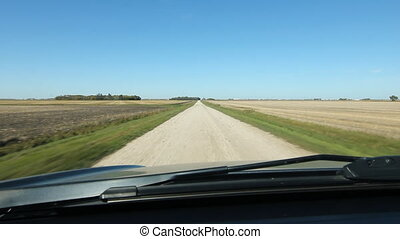 Driving on a country road. Manitoba