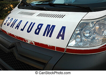 Ambulance Car - Close-up of sign on ambulance vehicle, soft...
