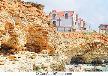 precipice - close-up slice of limestone rocks