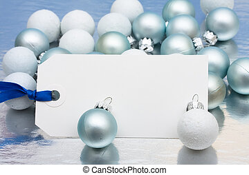 Happy Holidays Present - A blank Christmas gift tag sitting...
