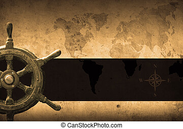 navy background - steering wheel with a navigator and...