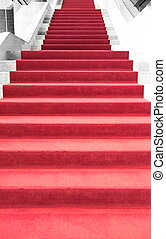 Red carpet on stairs
