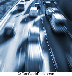 very fast cars on highway