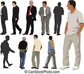 Men collection - Young men color collection. Few are dressed...