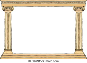Ancient colonnade on a white background vector illustration
