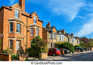 Town houses. Oxford, England - Typical brick town houses in...