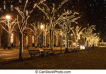 unter den linden at christmas time in berlin