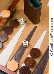 Backgammon Game - Backgammon game board with dice, pieces,...