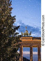 brandenburger tor and snowflakes in berlin