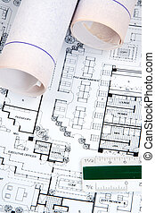Architects Drawing and Plans - Plans and blueprints for an...